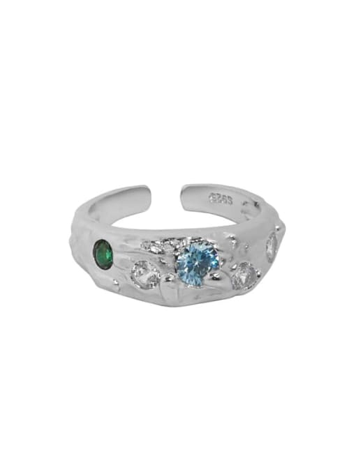 White gold [blue stone] 925 Sterling Silver Glass Stone Irregular Vintage Band Ring